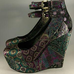 Aldo platform heels Enriguez 38 purple black teal